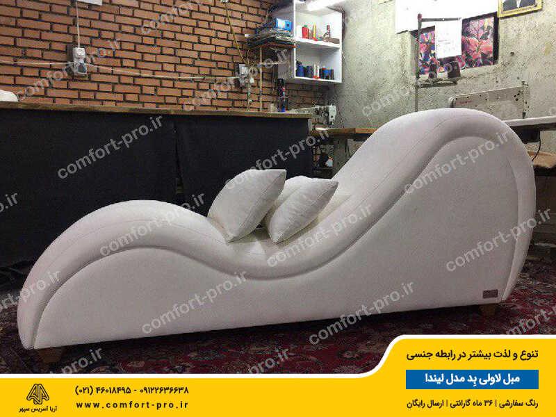 مبل زناشویی لاولی بد مدل لیندا پارچه مخمل ضد روغن ترکیه رنگ سفید