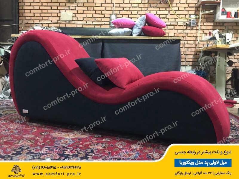 مبل زناشویی لاولی بد مدل ویکتوریا پارچه مخمل ضد روغن ترکیه رنگهای زرشکی و سیاه